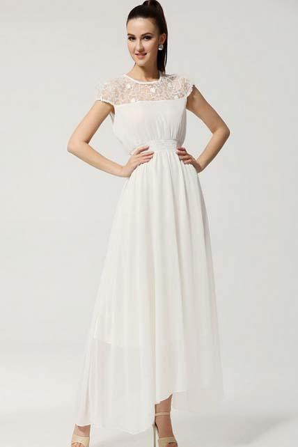 Romantic Hollow Lace Patchwork High Waist Dress - White
