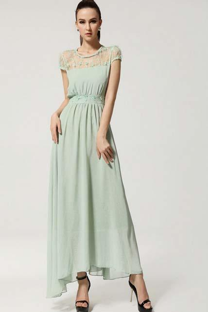 Bohemia Style Cute Fruit Print Long Dress - Green
