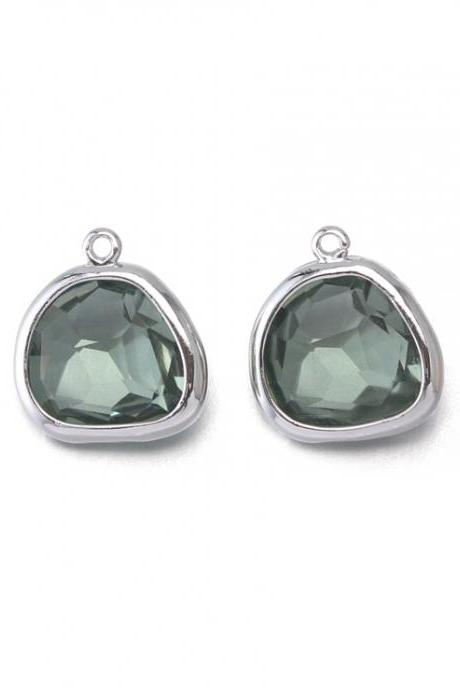 Black Diamond Glass Pendant . Polished Original Rhodium Plated / 2 Pcs - CG020-PR-BD