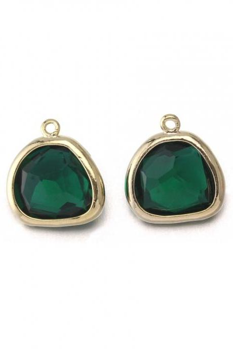 Emerald Glass Pendant . 16K Polished Gold Plated / 2 Pcs - CG020-PG-EM