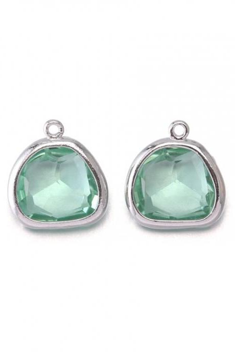 Erinite Glass Pendant . Polished Original Rhodium Plated / 2 Pcs - CG020-PR-EN