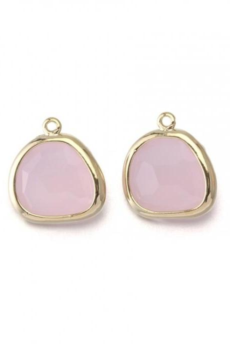 Ice Pink Glass Pendant . 16K Polished Gold Plated / 2 Pcs - CG020-PG-IP