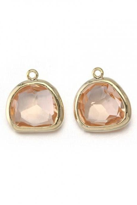 Champagne Glass Pendant . 16K Polished Gold Plated / 2 Pcs - CG020-PG-CH