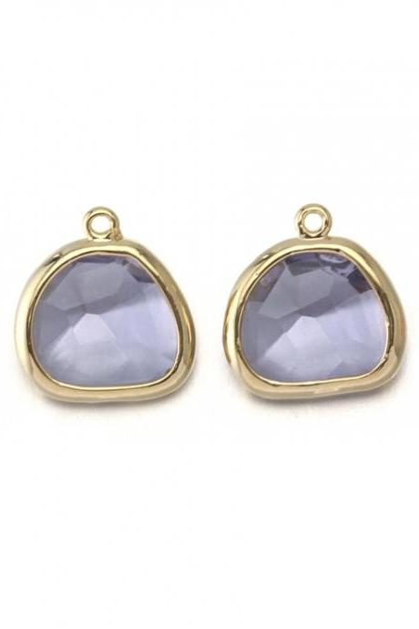 Smoky Lavender Glass Pendant . 16K Polished Gold Plated / 2 Pcs - CG020-PG-SLV
