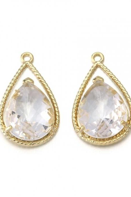 Crystal Glass Pendant . 16K Polished Gold Plated / 2 Pcs - CG022-PG-CR
