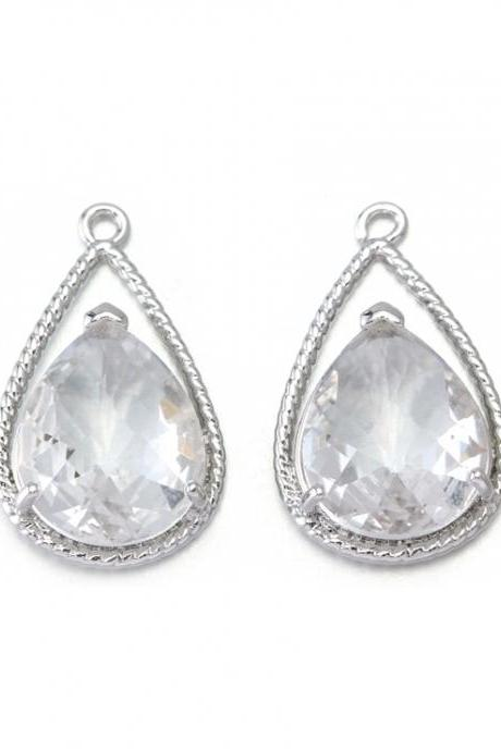 Crystal Glass Pendant . Polished Original Rhodium Plated / 2 Pcs - CG022-PR-CR