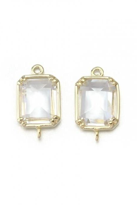 Crystal Glass Connector . 16K Polished Gold Plated / 2 Pcs - CG024-PG-CR