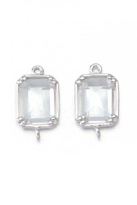Crystal Glass Connector . Polished Original Rhodium Plated / 2 Pcs - CG024-PR-CR
