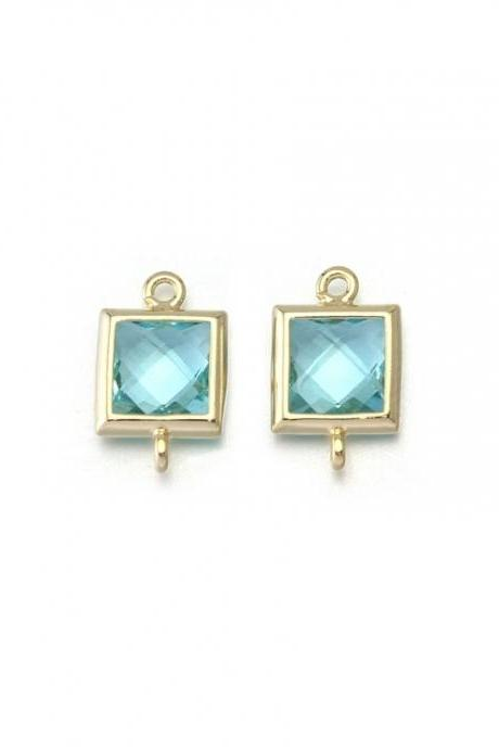 Aquamarine Glass Connector . 16K Polished Gold Plated / 2 Pcs - CG026-PG-AQ