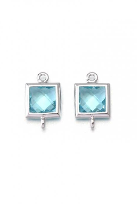 Aquamarine Glass Connector . Polished Original Rhodium Plated / 2 Pcs - CG026-PR-AQ