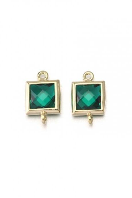 Emerald Glass Connector . 16K Polished Gold Plated / 2 Pcs - CG026-PG-EM