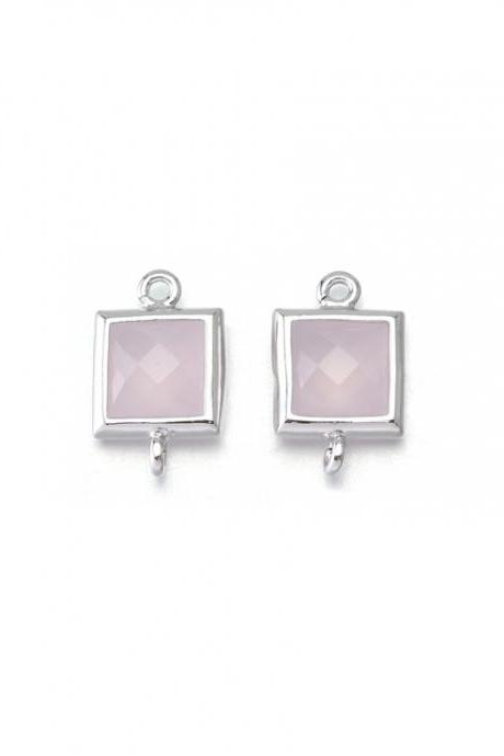 Ice Pink Glass Connector . Polished Original Rhodium Plated / 2 Pcs - CG026-PR-IP
