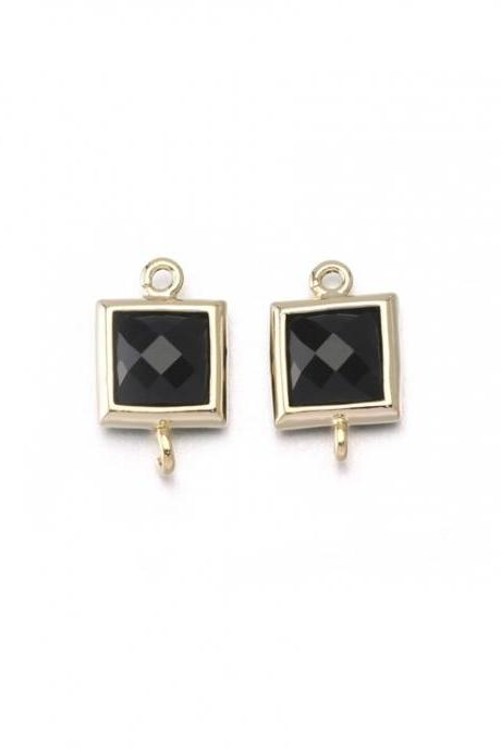 Onyx Glass Connector . 16K Polished Gold Plated / 2 Pcs - CG026-PG-ON
