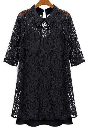 Fine Quality Shirt Collar Half Sleeve Black Lace Dress