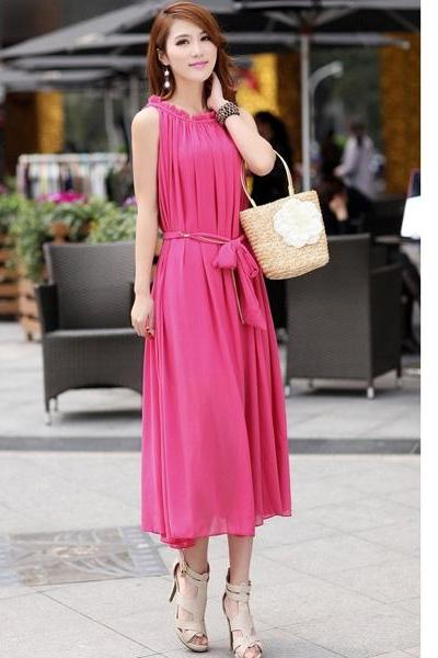 New Women's Sexy Strapless Long Chiffon Sleeveless Dress - Rose