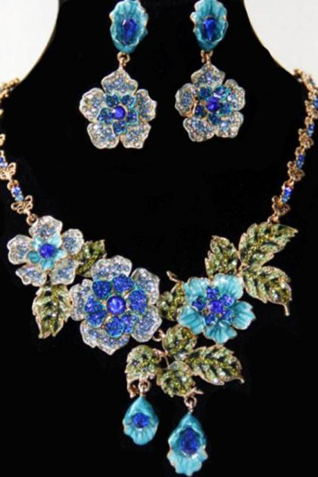 18K Gold Plated Blue Rainforrest Beauty Earrings with Matching Blue Floral Necklace Jewelry Set