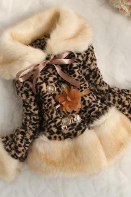 Leopard Faux Fur Jacket for Girls-Leopard Jacket for Girls Turn Down Collar