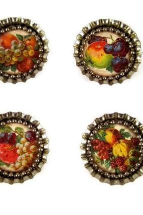 Magnets, Bottle Cap Magnets with Victorian Fruit and Ball Chain, Bottle Cap Art