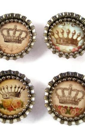 Magnets, Bottle Cap Magnets with Shabby Chic Princess Crowns, Bottle Cap Art