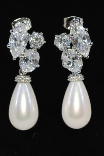 Wedding Earrings, Bridesmaid Earrings, Bridal Jewelry - Elegant Shell Based Pearl with Cubic Zirconia Earring (E169)