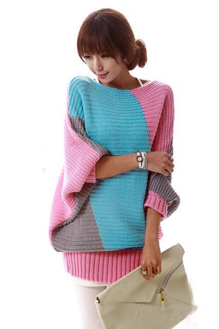 Casual Color Split Batwing Sleeve Long Pullovers Sweater