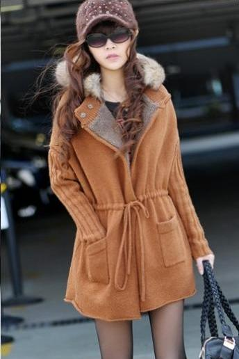 Girls Long cardigan coat thickening