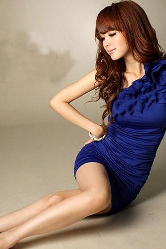 Fashion One-shoulder Mini Chiffon Dress - Blue