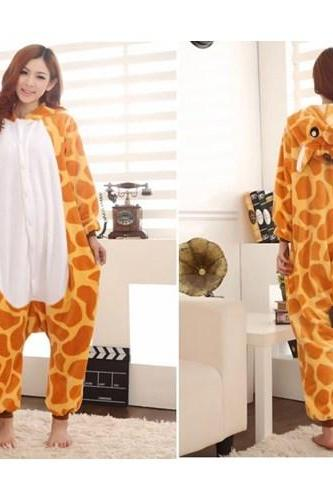 Cartoon Animal Giraffe Unisex Adult Flannel Onesies Onesie Pajamas Kigurumi Jumpsuit Hoodies Sleepwear For Adults Welcome Order