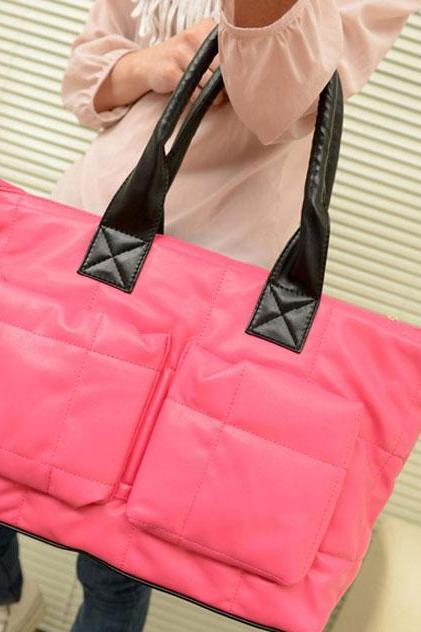 Fashion Pink Leather Down Handbag&Shoulder Bag