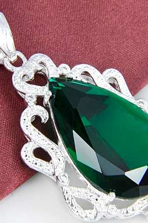 925 silver green gem 2014 popular cheap initial pendant P0351
