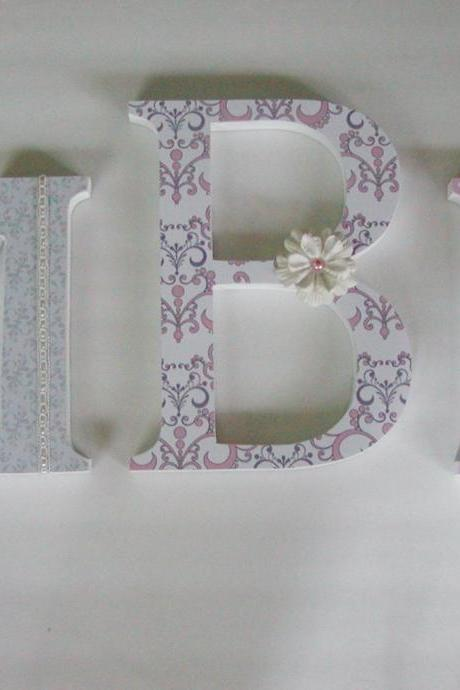 Wooden Letters, Nursery Letters-ANY 3 INITIALS-customizable to your decor