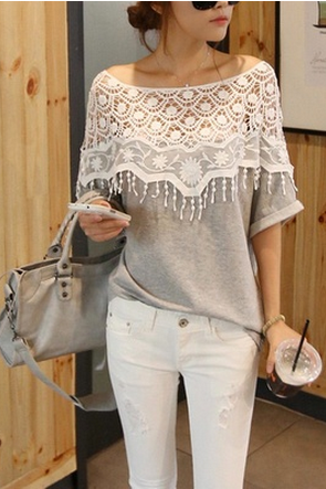 2014 sweet lace cutout shirt women handmade crochet cape collar batwing sleeve blouse medium-long t-shirt