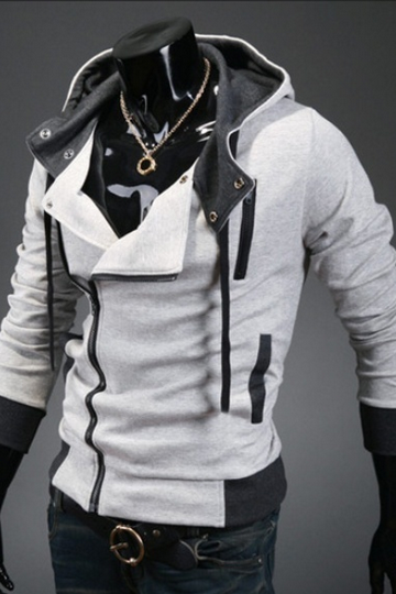 Light Grey Korean Men Slim Fitting Fashion Hoodie Cotton Blends Coat