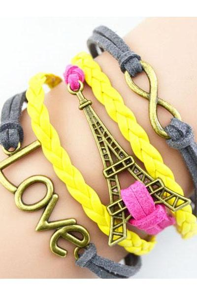 Vintage Multi-layer Handmade Braided Tower bracelet Hollow Out Chain Bangle Gift