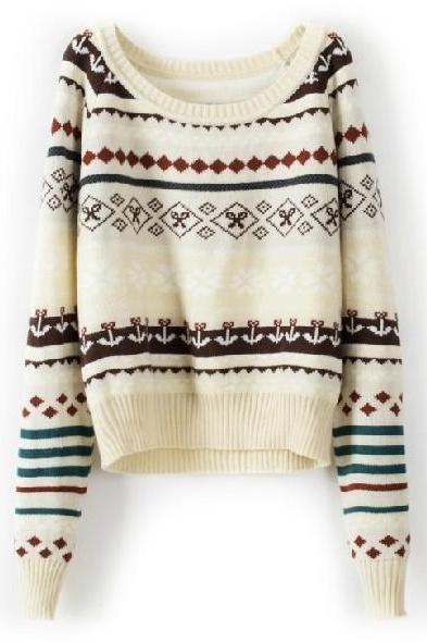 Beige Loose Tribe Sweater