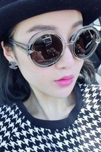 Retro Oversized Round Frame Mirror Lens Sunglasses Shades