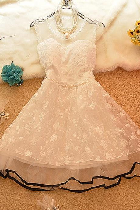 Lovely sweet lace sleeveless dress JW050810