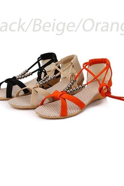 Bohemian Cross Strap Beaded Sandals Roman Style Low-Heeled Casual Open Toe Sandals For Women