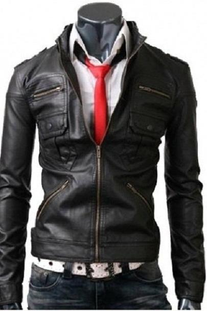 Handmade New Mens Zip Pocket Black Leather Jacket