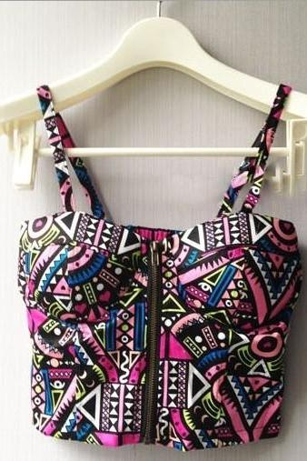 Spaghetti Strap Geometric Print Bustier Bralet Crop Top with Zipper Front