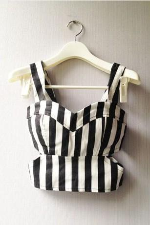 Striped Bustier Bralet Crop Top