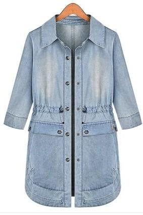 Denim Jacket Sleeve Drawstring Jacket