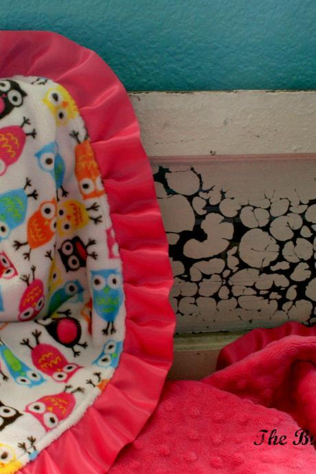 Double Minky Baby Blanket in Night Owl Carnival, Fuchsia Pink Minky and a Satin Ruffle - Personalization Options Available- Made To Order