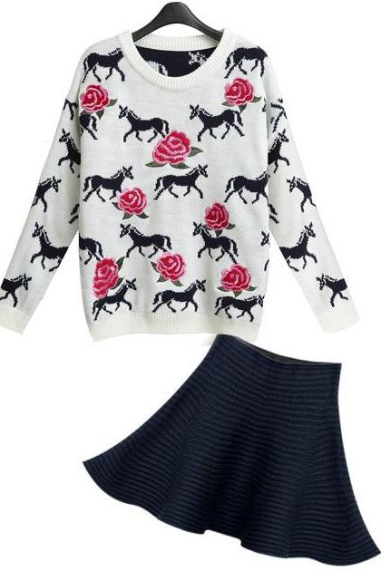 Pony embroidery jacquard knit tops + skirt