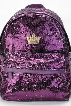 Fashion Shiny Purple Sparking Unique Backpack Bag