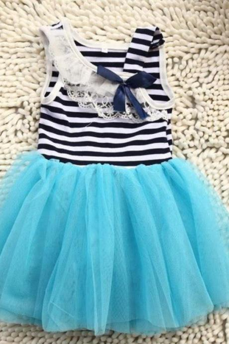 BLUE Tutu Dress for Infant Girls-Stripe Tutu Dress-Stripe Summer Lace Dress for Girls