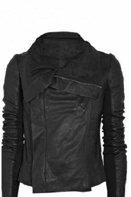 Women black high neck free collar leather jacket