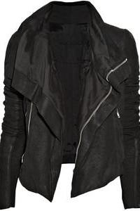 Women black leather jacket, women's leather jacket