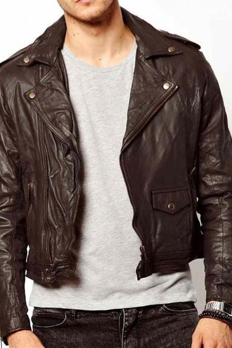 Men brown leather jacket, real leather biker jacket