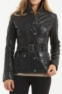 Women black belted leather jacket